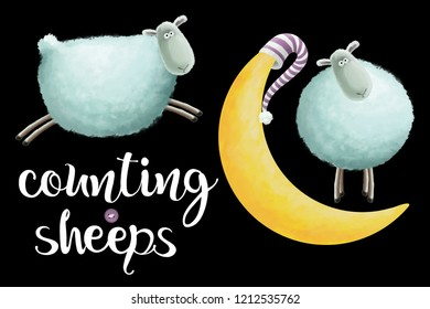 Counting sheeps. Funny, cute small clip art set with lettering on black background