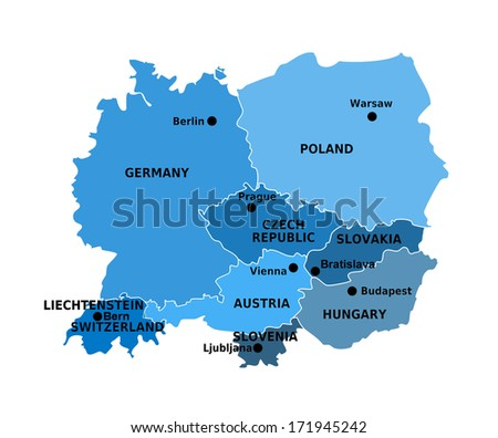 Countries Central Europe Map Stock Illustration 171945242 - Shutterstock