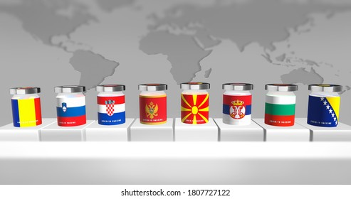 Countries from Southeast Europe represented as vials for immunization from corona virus. Balkan countries COVID-19 alert. 3D illustration