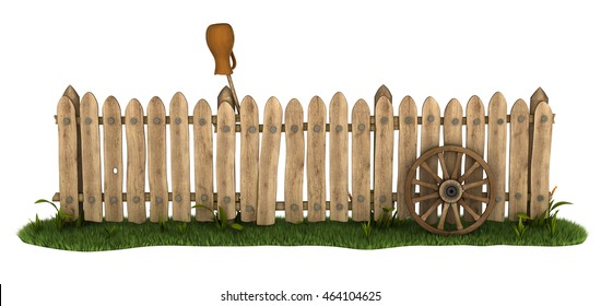 Country fence with a jug and the wheel of the cart. 3d illustration. Isolated on white