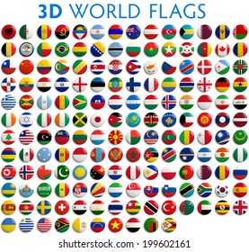 Country flags of the world - 3D realistic.