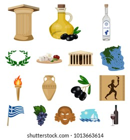 Country Greece cartoon icons in set collection for design.Greece and landmark bitmap symbol stock web illustration.