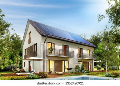 Country house with solar panels on the roof and a terrace and swimming pool. 3d rendering