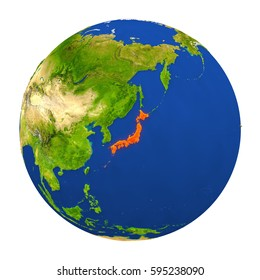 Country of Japan highlighted on globe. 3D illustration with detailed planet surface isolated on white background. Elements of this image furnished by NASA.