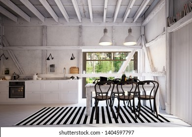 country kitchen interior. 3d design concept rendering