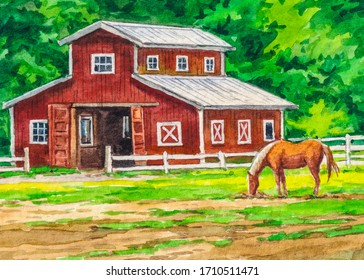 Country landscape. American farm with red barn and horse. Watercolor painting.