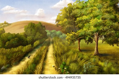 Country landscape during summer. Original digital painting.