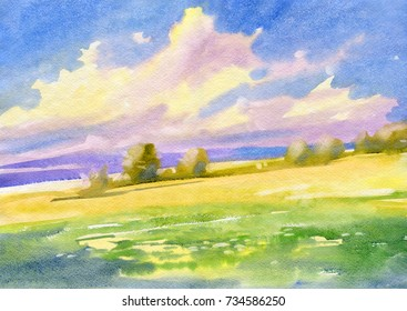 Country landscape. Field. Watercolor.