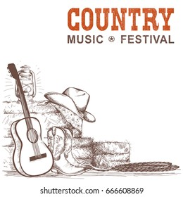 Country music background with guitar and american cowboy shoes and western hat.Raster