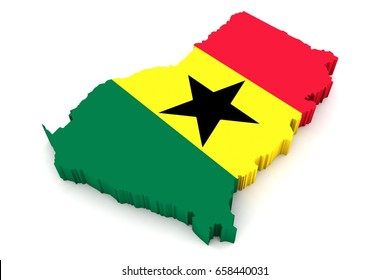 Country shape of Ghana  - 3D rendering of country borders filled with colors of Ghana flag isolated on white background