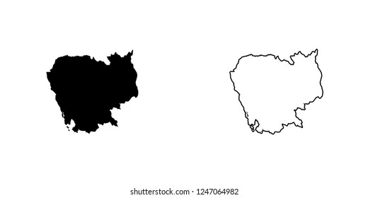 A Country Shape Illustration of Cambodia Cambodia