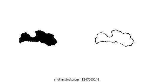 A Country Shape Illustration of Latvia Latvia