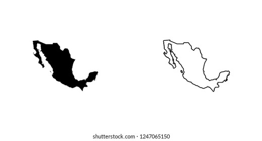A Country Shape Illustration of Mexico Mexico