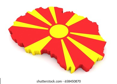 Country shape of Macedonia  - 3D rendering of country borders filled with colors of Macedonia flag isolated on white background