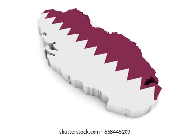 Country shape of Qatar  - 3D rendering of country borders filled with colors of Qatar flag isolated on white background