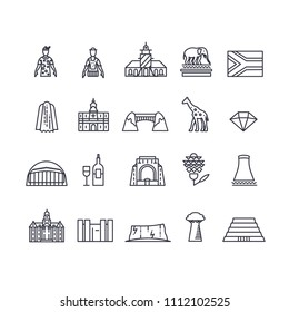 Country South Africa travel vacation of place and feature. Set of architecture, fashion, people, item, nature background concept. Infographic traditional ethnic flat, outline, thin line