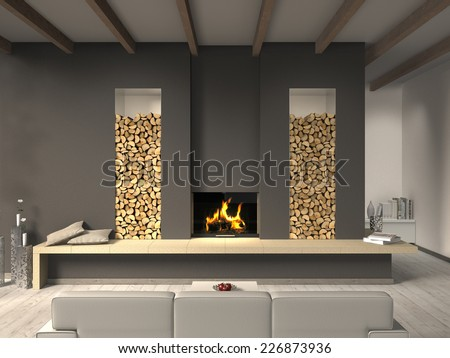 Country Style Living Room 3 D Rendering Stockillustration ...