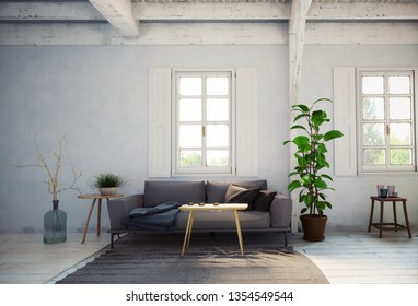 country style living room interior. 3d rendering design concept