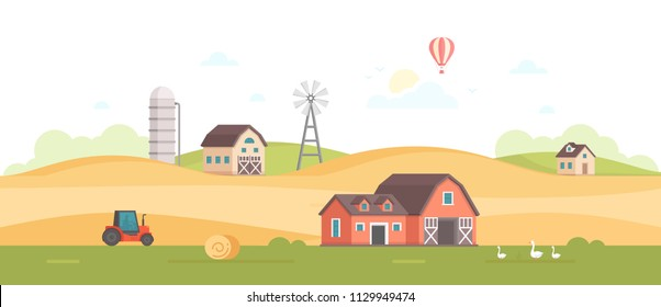 Countryside - modern flat design style illustration on white background. A high quality composition with a barn, field, windmill, silage tower, tractor, haystacks. Organic farming concept