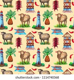 Countryside watercolor seamless pattern. Farm, rustic, seaside, sheeps, boat, lighthouse. For design, fabric, wallpaper, banner, card.