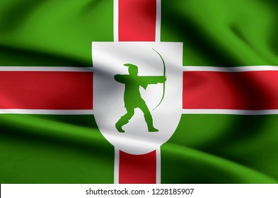 County Nottinghamshire modern and realistic closeup flag illustration. Perfect for background or texture purposes.
