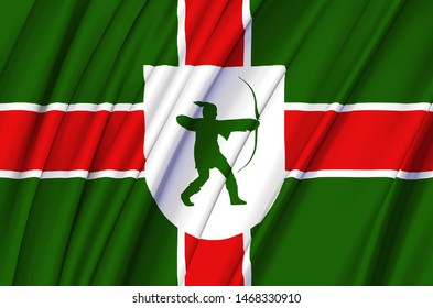 County Nottinghamshire waving flag illustration. Regions of England and United Kingdom. Perfect for background and texture usage.