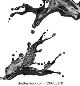 couple of black liquid ink splash