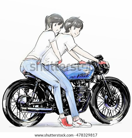 Couple Boy Girl Riding Motorcycle Biker Stock Illustration Royalty