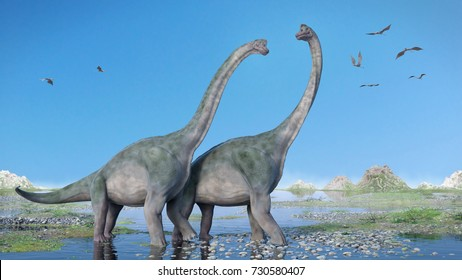 couple of Brachiosaurus altithorax and a flock of Pterosaurs in a scenic Late Jurassic landscape (3d illustration)