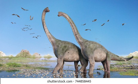 couple of Brachiosaurus altithorax and a flock of Pterosaurs in a scenic Late Jurassic landscape (3d rendering)