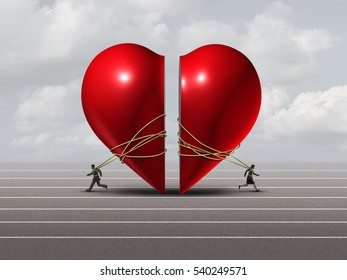 Couple in crisis and relationship problem concept as a man and woman pulling apart a red valentine heart as a divorce or separation metaphor with 3D illustration elements.