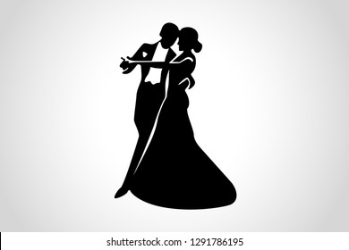 Couple dancing ballroom dance. Dancing couple logo isolated on white background. Waltz dancers silhouette