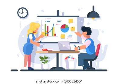 Couple discussing financial chart analytics. Man woman brainstorming flipchart statistic diagram graphs. Presentation business strategy performance concept. Flat. illustration.