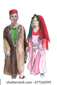Couple dressed in tunisian wedding costumes watercolor illustration. Tourist entertainment hand drawn sketch.