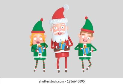 Couple elf  and Santa Claus. 3d Illustration.