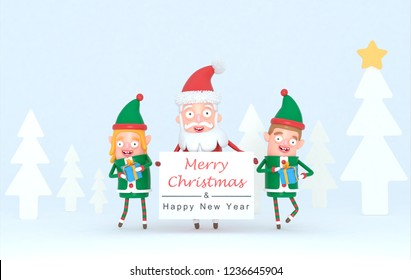 Couple elf and Santa Claus holding a Greetings placard in a forest set. 3d Illustration.