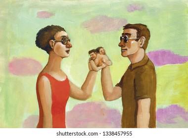 a couple has not the dark glasses of the seeing, to recognize their hands  are turned into people that are embraced surreal metaphisical acrylic painting