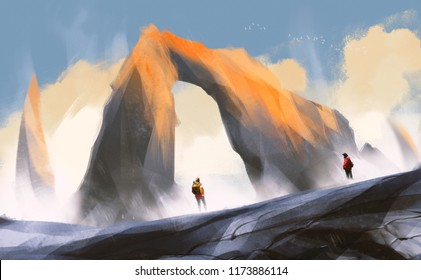couple hiker standing on mountain with rock portal against clouds and blue sky, digital illustration art painting design.