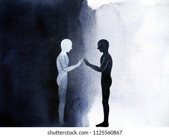 couple human standing connection hand up pose, abstract body world universe inside your mind watercolor painting hand drawing illustration design