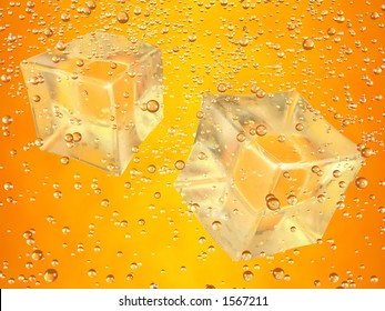 A couple of ice cubes swimming in orange drink. Photorealistic 3D rendering.