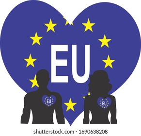 Couple love European Union with a big heart on the background