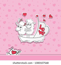 Couple in love. Hand drawn Two happy sheep in funny pose on cruise ship boat on travel vacation holidays. Idea for greeting card with Happy Wedding or Valentine's Day.