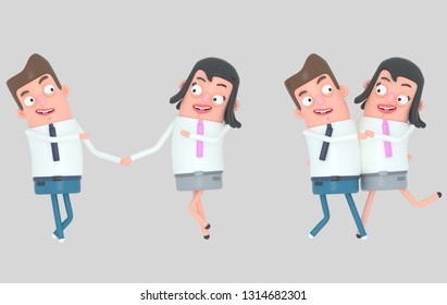 Couple in love having a romantic moment. Isolated. 3d illustration