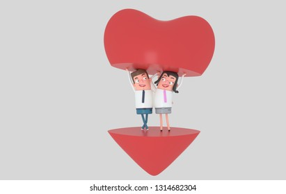 Couple in love holding a big half piece of heart. Isolated. 3d illustration