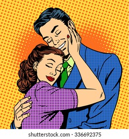 Couple in love hugging husband wife retro pop art love romance