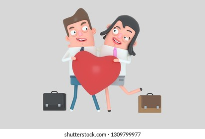 Couple in love. Isolated. 3d illustration