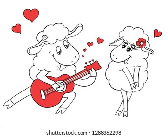 Couple in love. Romantic couple sheep playing serenade on guitar. Idea for greeting card with Happy Wedding or Valentine's Day. Сartoon doodle illustration