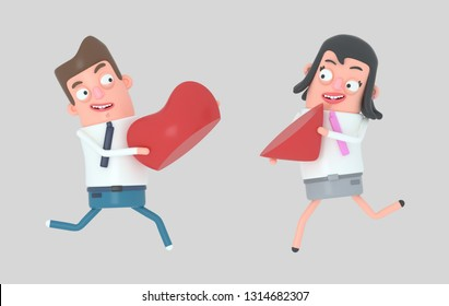 Couple in love running and holding half piece of heart. Isolated. 3d illustration