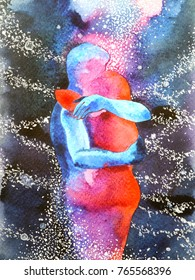 couple lover hugging in universe abstract free mind, inside your world watercolor painting design illustration background