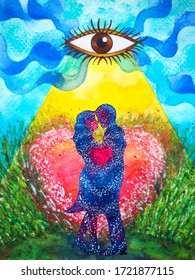 couple lover love hug kiss heart abstract universe watercolor painting illustration design art